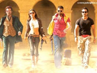 Movie Still From The Film Tashan,Anil Kapoor,Kareena Kapoor,Akshay Kumar,Saif Ali Khan