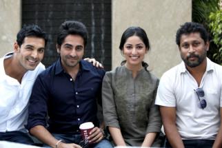 On The Sets Of The Film Vicky Donor,John Abraham,Ayushman Khurana,Yami Gautam,Shoojit Sircar