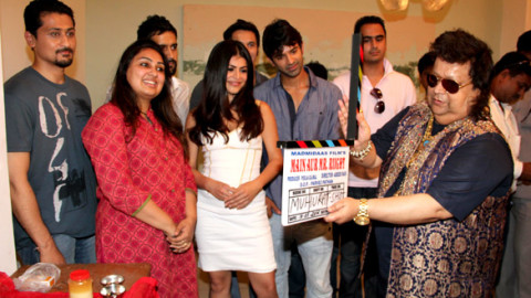 Photo Of Varun Khandelwal,Pooja Gujral,Kavi Shastri,Shenaz Treasuryvala,Barun Sobti,Bappi Lahiri From The Mahurat of Madmidaas Films 'Main Aur Mr. Riight'