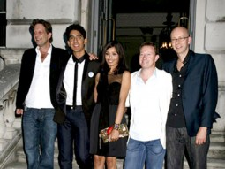 Photo Of Christian Colson,Dev Patel,Freida Pinto,Simon Beaufoy,Chris Dickens From Screening of 'Slumdog Millionaire' at Somerset House in London