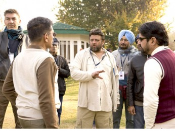 On The Sets Of The Film Lamhaa Featuring Sanjay Dutt,Bipasha Basu,Kunal Kapoor,Shernaz Patel,Aman Verma,Yashpal Sharma,Vishwajeet Pradhan,Vipin Sharma,Yuri Suri,Anupam Kher,Asif Basra,Rajesh Khera,Murli Sharma,Jyoti Dogra,Denzil Smith,Ehsaan Khan,Mahesh M
