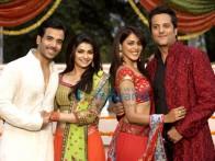 Movie Still From The Film Life Partner Featuring Tusshar Kapoor,Fardeen Khan,Genelia Dsouza,Prachi Desai