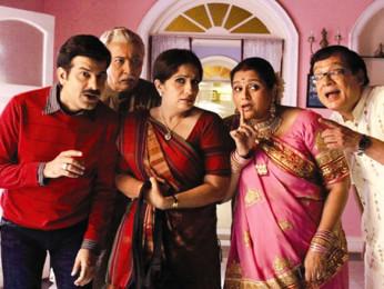 Movie Still From The Film Khichdi - The Movie,Jamnadas Majethia,Anang Desai,Nimisha Vakharia,Supriya Pathak,Rajeev Mehta