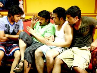 Movie Still From The Film Golmaal 3,Shreyas Talpade,Arshad Warsi,Tusshar Kapoor,Kunal Khemu