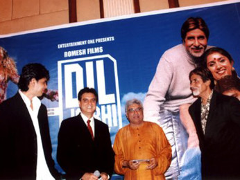 Photo Of Karan Sharma,Romesh Sharma,Javed Akhtar,Amitabh Bachchan From The Audio Release Of Dil Jo Bhi Kahey