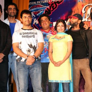 Sharman Joshi, Kunal Kapoor, Aamir Khan, Ronnie Screwvala, Soha Ali Khan, Rakeysh Omprakash Mehra, Siddhartha, Atul Kulkarni