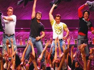 Movie Still From The Film Om Shanti Om,Sanjay Dutt,Saif Ali Khan,Salman Khan,Shahrukh Khan