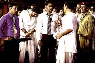 Movie Still From The Film Aakrosh,Akshaye Khanna,Ajay Devgn