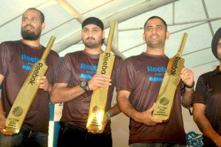 Photo Of Yusuf Pathan,Harbhajan Singh,Mahendra Singh Dhoni From The Dhoni, Yuvraj, Harbhajan and Pathan at Reebok event