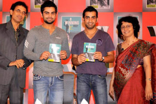 Photo Of Harsha Bhogle,Virat Kohli,Gautam Gambhir From The MS Dhoni and other cricketers at Harsha Bhogle's book launch