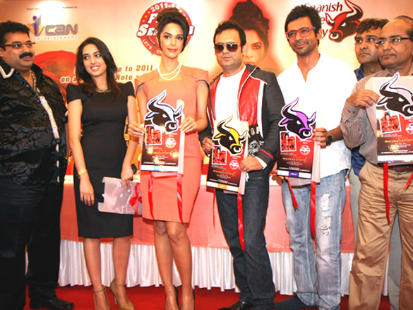 Photo Of Anil Shetty,Vaidehi,Mallika Sherawat,DJ Sheizwood,Sunil Grover,Sanjay Thiba,Babubhai Thiba From The Mallika Sherawat at Spanish Theme New Year's eve press meet