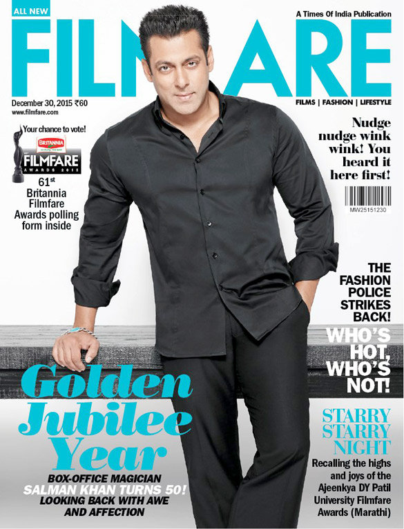Salman Khan On The Cover Of Filmfare,Dec 2015