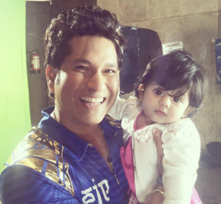 Sachin Tendulkar with Harbhajan Singhs daughter