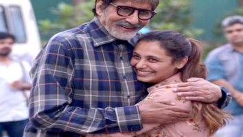 Amitabh Bachchan share a warm hug with Rani Mukerji on the sets of Hichki