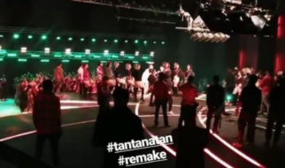 Varun Dhawan, Taapsee Pannu and Jacqueline Fernandez shoot for the hit song 'Tan Tana Tan' on the grand sets of Judwaa 2