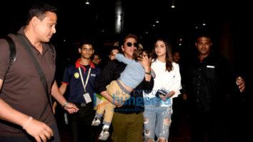 Shah Rukh Khan and Anushka Sharma arrive back from Dubai JHMS promotions