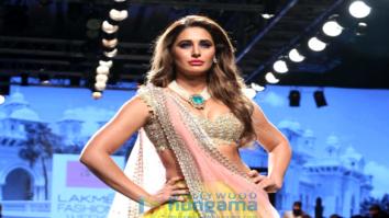 Nargis Fakhri walks for Anushree Reddy at Lakme Fashion Week 2017