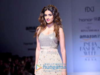 AIFW 2017 Nidhhi Agerwal walks the ramp in New Delhi