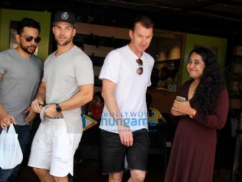 Brett Lee snapped at a Salad Corner in Bandra