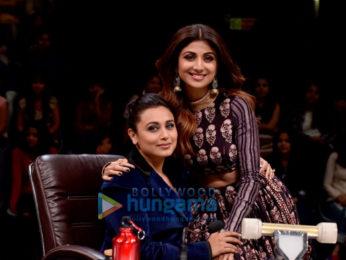 Shilpa Shetty and Rani Mukerji on the sets of Super Dancer 2