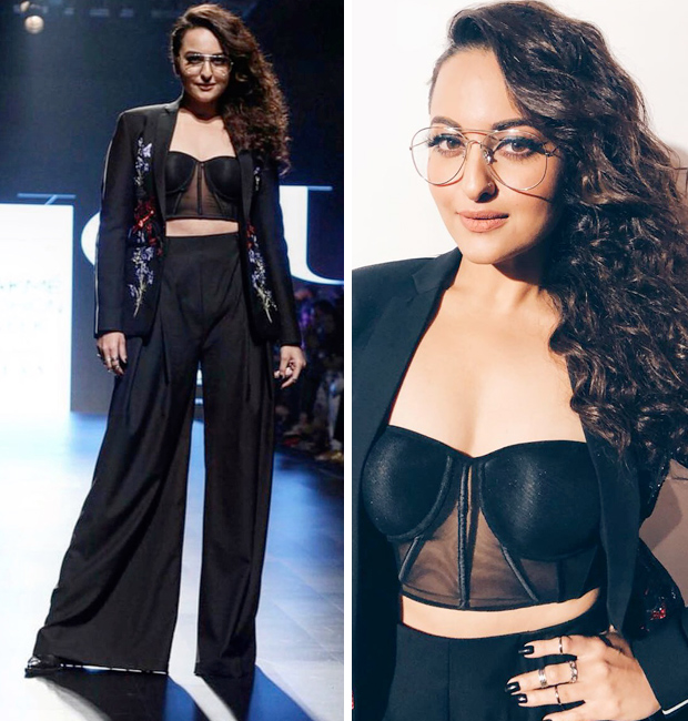 Sonakshi Sinha in Falguni and Shane Peacock at LFW 2018 for Welcome to New York Promotions