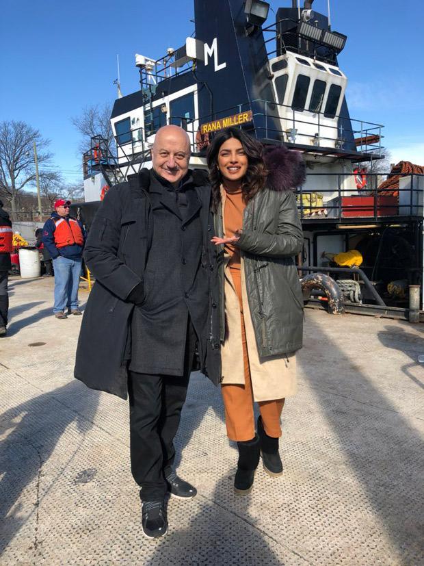 Anupam Kher meets Priyanka Chopra on the sets of Quantico