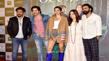 Banita Sandhu, Varun Dhawan and Shoojit Sircar grace the trailer launch of 'October'