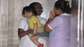 Taimur Ali Khan snapped at Soha Ali Khan's residence