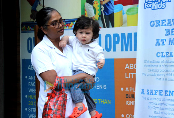 Taimur Ali Khan spotted with his nanny outside the kids gym in Bandra