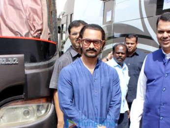 Aamir Khan, Kiran Rao snapped with Chief Minister of Maharashtra Devendra Fadnavis