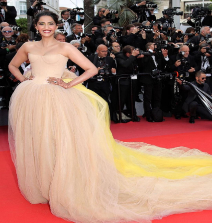 Sonam Kapoor at Cannes 2018 in Vera Wang