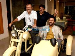 Ranbir Kapoor and Rajkumar Hirani snapped promoting their film Sanju