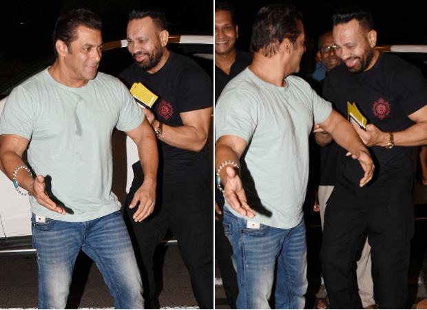 Salman Khan pokes fun at his bodyguard Shera while leaving for Dabangg Tour Reloaded at the airport - Bollywood Hungama
