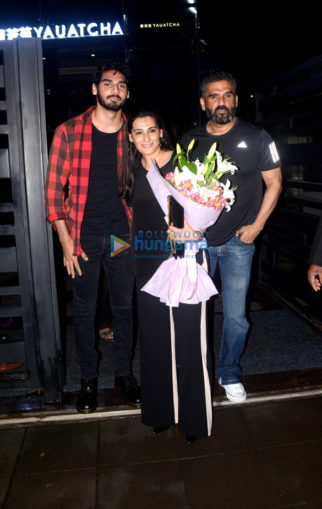 Suniel Shetty, Ahan Shetty snapped at Mana Shetty's birthday dinner at BKC