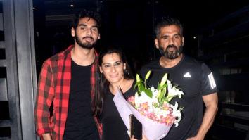 Suniel Shetty, Ahan Shetty snapped at Mana Shetty's birthday dinner at BKC