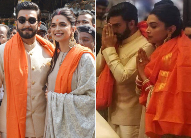 Newlyweds Deepika Padukone and Ranveer Singh are all smiles as they seek the blessings of the lord at Siddivinayak Temple