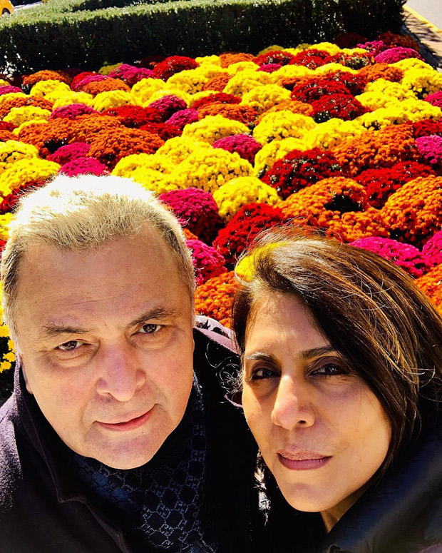Rishi Kapoor and Neetu Kapoor enjoy sunny day surrounded by beautiful flowers in New York